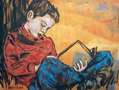 "DAVID BROMLEY ""Boy with Book"" Original Acrylic on Canvas, Signed 90cm x 120cm"