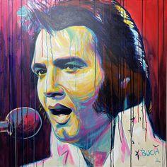 Elvis Presley farverig portræt maleri Malerierne - Allan Buch Malerier