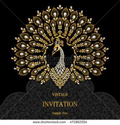 Wedding invitation or card with abstract background. Indian Wedding Invitation Cards, Wedding Invitations Online, Wedding Invitation Design, Wedding Cards, Peacock Mehndi, Peacock Art, Poster Background Design, Background Patterns, Worli Painting