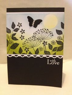 handmade card ... black card base ... Summer Silhouettes stamped in black ... soft sponged scene in the background .. good basic design with a little sentiment to anchor the main image panel ... lovely!!... Stampin' Up!