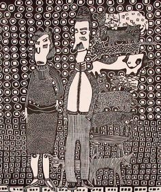 The Pet Hoarder and his Wife Linocut Printmaking by StageFortPress, $90.00