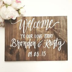 Welcome to Our Love Story Sign, Rustic Wooden Wedding Sign, Personalized Welcome Sign, Keepsake Sign   ✦ BEFORE ordering, please click the