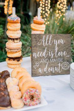 Wedding Food Donut Bar Sign All You Need is Love and a Donut Perfect Wedding Donuts, Wedding Desserts, Wedding Favors, Donut Wedding Cake, Wedding Cakes, Wedding Bouquet, Wedding Themes, Wedding Food Bar Ideas, Easy Diy Wedding Food