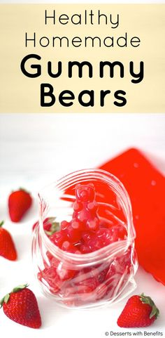 Healthy Homemade Gummy Bears! No high fructose corn syrup, no artificial food dyes, no artificial food flavorings... just pure, all-natural strawberry goodness! [Fat Free, Sugar Free, Low Carb, Gluten Free]