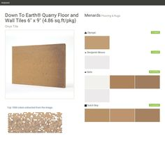 "Down To Earth® Quarry Floor and Wall Tiles 6"" x 9"" (4.86 sq.ft/pkg). Onyx Tile. Flooring & Rugs. Menards. Olympic. Benjamin Moore. Behr. Dutch Boy.  Click the gray Visit button to see the matching paint names."