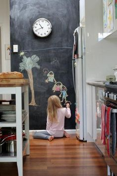 great idea... children can just draw pictures while u are cooking... or you can write little notes for your loved ones... awww, love this idea, since they write on the walls anyways!
