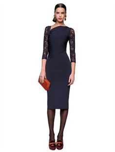 I need brittney to make this dress for me. such elegance. KNIT DRESS WITH LACE SLEEVES, $1,470.00