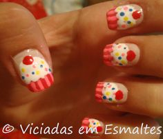 cupcake nails... what do you think @Monica Derrick?... but with yellow wrappers :) and maybe not every nail.