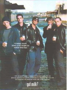 "56 Celebrities from the ""Got Milk?"" Ads - so had the BSB hanging on my wall! Backstreet Boys (1998)"