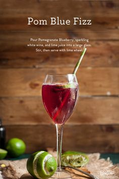 Pour pomegranate and blue berry juice, sparkling white wine and lime juice into a large glass. Stir then serve cold to cool your guests down at dinner parties this summer.