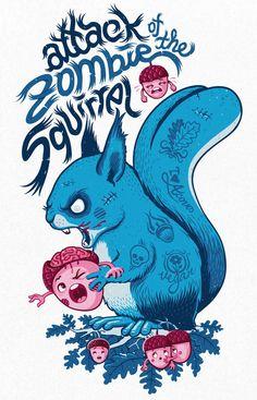 illustration typography artwork - zombie squirrel and acorns Zombie Kunst, Zombie Art, Dead Zombie, Graffiti, Zombies, Art Expo, Art Et Illustration, Zombie Illustration, Squirrel Illustration
