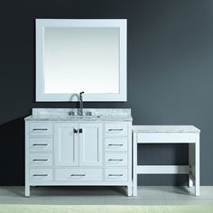 Design Element London 78 Inch Single Sink White Vanity Set With Makeup  Table, And Bench Seat By Design Element