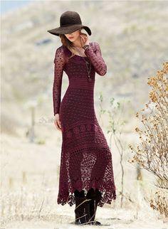 Outstanding Crochet: Sybil Pima Cotton Crochet Maxi Dress from Peruvian Connection.