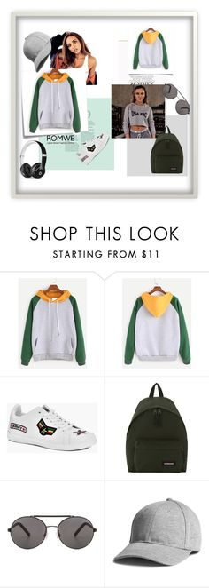 """""""ROMWE Color Block Hooded Sweatshirt"""" by anchesky ❤ liked on Polyvore featuring Post-It, Boohoo, Eastpak, Seafolly and Beats by Dr. Dre"""