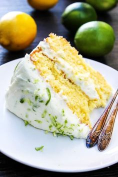 Lemon Lime Layer Cake - A Dash of Sanity Lemon-Lime Layer Cake is a gorgeous lemon cake with lime buttercream. A perfect combination for summer and spring! Köstliche Desserts, Delicious Desserts, Yummy Food, Lemon Cake Frosting, Lemon Cakes, Cake Recipes, Dessert Recipes, Summer Cakes, Lemon Lime
