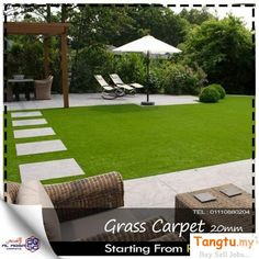 A growing number of private and public garden started using artificial grass. compared with natural grass, artificial grass garden is better on appearance Artificial Grass Balcony, Artificial Grass For Dogs, Artificial Turf, Fake Grass, Modern Garden Design, Backyard Garden Design, Backyard Landscaping, Backyard Designs, Back Gardens