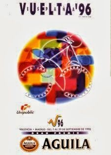 1996 Vuelta a Espana Poster. Another abstract design for the Vuelta. This time by means of a colourful circle containing a subtle white outlined cyclist. Bike Poster, Cycling Art, Graphic Design, Bicycle, Posters, Graphics, Abstract, Vintage Ads, Poster