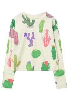 2016 Autumn Trendy Cactus Round Neck Long Sleeve Cropped Sweater - Beautifulhalo.com