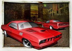 Custom design rendering of a 1971 'Cuda project for a client. Car Design Sketch, Car Sketch, Cool Car Drawings, Go Ride, Car Illustration, Illustrations, Cars Coloring Pages, Truck Art, Automotive Art