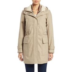 Cole Haan Two-Piece Wool-Blend Anorak Jacket (975 TND) ❤ liked on Polyvore featuring outerwear, jackets, maple sugar, brown jacket, anorak jackets, wool blend jacket, pocket jacket and cole haan