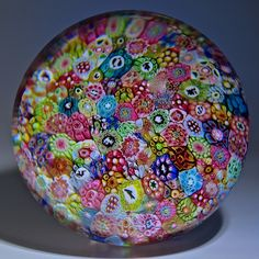 """Baccarat {France} paperweight - Almost magnum, extra high dome, Baccarat 1967 Zodiac Church Weight Museum Piece. Fabulous, classic, colorful, intricate closepack. 1967, 3 1/3""""w x 2 1/2""""t, 28.4oz. - #0117"""