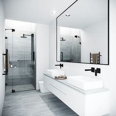 Bathroom decor for the master bathroom remodel. Discover bathroom organization, bathroom decor tips, bathroom tile a few ideas, master bathroom paint colors, and much more. Modern Bathroom Design, Bathroom Interior Design, Bathroom Designs, Modern Bathrooms, Small Bathrooms, Modern Bathroom Sink, Farmhouse Bathrooms, White Bathrooms, Modern Shower