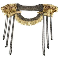 Akong Golden Epaulettes ($1,385) ❤ liked on Polyvore featuring jewelry, necklaces, accessories, collars, women, collar jewelry, collar necklace, golden jewelry, chain jewelry and akong
