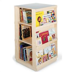 "Guidecraft 44"" H Big Book Four Sided Library Book Shelves - put it on a lazy Suzan and maybe lockable casters."
