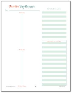 This handy vacation planner printable will help make sure you get where you need to go. Use the day planner not only to plan your days, but to make note of things you want to remember about where you've been.