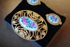 Victorian style vintage 70s gold tone metal filirgree  by VezaVe