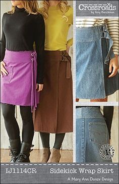 Indygo Junction's Sidekick Wrap Skirt is a wrap skirt in three lengths; mini, knee-skimming and tea-length. Also included are simple directions for lengthening to a maxi. Directions provided for deconstructing jeans to make a repurposed denim rendition with the jean pockets stitched to the back of the skirt. Size S – 2XL $14.99