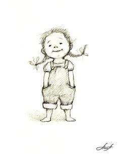 little dolls Anna Abramskaya - Gallery 'Illustration' Pencil Art Drawings, Art Drawings Sketches, Easy Drawings, Baby Cartoon Drawing, Cartoon Drawings, Cartoon Art, Little Girl Illustrations, Children's Book Illustration, Cute Art