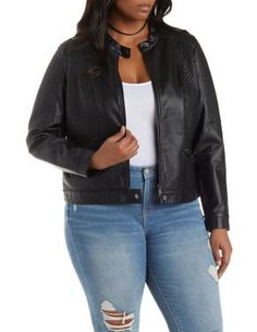 Plus Size Quilted Faux Leather Moto Jacket