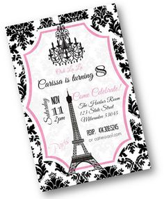 Pink and Black Damask Paris Theme Birthday Party invitation with Eiffel Tower and Chandelier Printable pink  Ooh La La Girls Invites