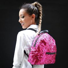 Hot Pink Sequin Backpack with Satin Lining & Vinyl Backing  #fashion #style #love #shopping #gifts #design #pink #sparkles #1 #art #giftidea #giftsforher #gift #etsy #etsyseller #backtoschool #backpacking #backpacks #backpack