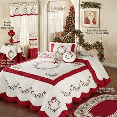 Holly Wreath Quilted Oversized Holiday Bedspread ZThe Holly Wreath Holiday Bedding will make any bedroom look fabulously festive. The cotton/polyester Grande Oversized Bedspread features embroidered holly wreaths and garlands in red and green on a ve Cozy Christmas, Country Christmas, All Things Christmas, Christmas Holidays, Christmas Bedding, Christmas Interiors, Holiday Wreaths, Holiday Decor, Holly Wreath