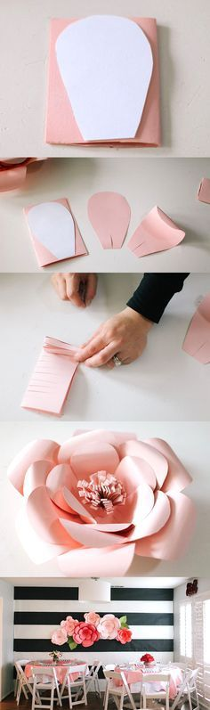 Idea cómo decorar con flores de papel ✿⊱╮