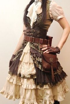 Browns and Frills and Belts, oh my. #steampunk  Oh! Could I add the ruffle?
