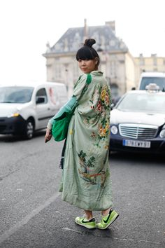 Susie Bubble. Wearing vintage kimono, Jonathan Saunders jumper, Dries Van Noten skirt, Nike trainers, Diane von Furstenberg bag