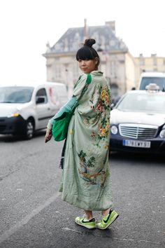 Susie Bubble. Wearing vintage kimono, Jonathan Saunders jumper, Dries Van Noten skirt, Nike trainers, Diane von Furstenberg bag