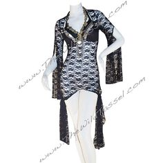 On Tribal Fusion Belly Dance Dress Black Lace Ghawazee Coat ($80) ❤ liked on Polyvore featuring black, outerwear and women's clothing