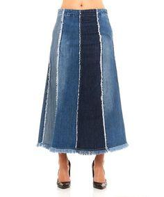 Look at this #zulilyfind! Blue Fray-Hem Back-Zip Denim Maxi Skirt - Plus Too #zulilyfinds