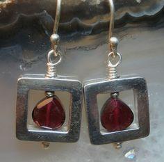 Garnet Squared Earrings by abbyhorowitzdesigns on Etsy, $30.00