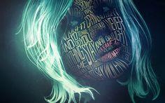 Lataa kuva 4k, naisen kasvot, art, typografia, vihreä tukka