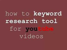 How to Keyword research tool for YouTube videos - YouTube