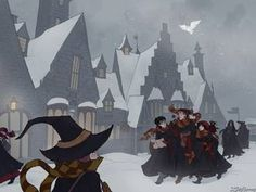 Snow Day in Hogsmeade by IrenHorrors on DeviantArt Weird Sisters, Harry Potter Christmas, Harry Potter Collection, Horror Art, Dark Art, Photo Art, Art Drawings, Art Photography, Snow