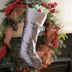 Silver Sequin Christmas Stocking | Kirklands