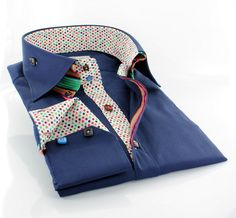 Claudio Lugli men's double-collared polka dot inner-lining with stripes http://claudioluglishirts.com/