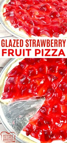 Glazed Strawberry Fruit Pizza is made with a sugar cookie crust that is topped with a cream cheese layer, fresh strawberries and a delicious strawberry glaze! This fruit pizza recipe is so easy to make by using pre-made sugar cookie dough and the glaze is Cream Cheese Sugar Cookies, Sugar Cookie Dough, Cookie Crust, Sugar Cookie Pizza, Pizza Cookies, Butter Cheese, Strawberry Desserts, Köstliche Desserts, Strawberry Jello