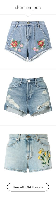 """short en jean"" by yseultdel on Polyvore featuring shorts, bottoms, pants, blue shorts, blue denim shorts, jean shorts, blue jean shorts, denim short shorts, blue et torn jean shorts"
